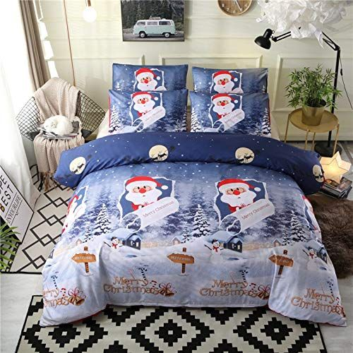 Hokuga 2018 Christmas Bedding Set King Size Santa Claus Bed