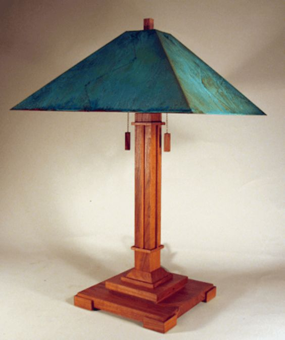 "The Pasadena Lamp Available in 22"",26"" and 60"" Shown in cherry and green copper patina shade"