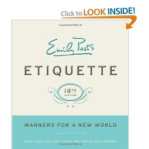Etiquette is basic common courtesy for everyday situations. We should rethink our view of Etiquette and pick up this revised version for modern life situations and how to handle them with dignity and grace. It includes everything from wedding do's and don'ts, dress codes for such events, business guidelines, and of course table manners, etc. I feel like we should all brush up on etiquette.