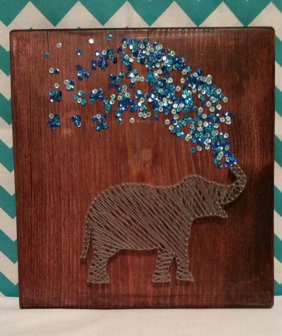 Elephant String Art / Mixed Media by CinnSugarSpice on Etsy, $30.00 - Elephant spraying water. Fun decoration