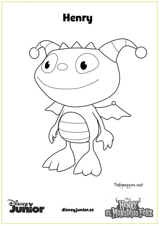 Henry El Monstruo Feliz Imprime Y Colorea Page 001