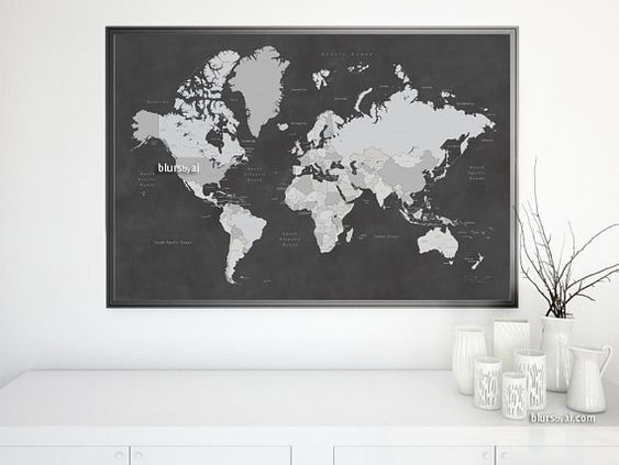 30x20 Printable World Map with Countries  Names US States
