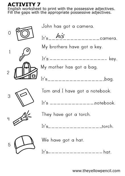 Determinantes Posesivos Posesivos En Ingles Ejercicios De Ingles Vocabulario En Ingles