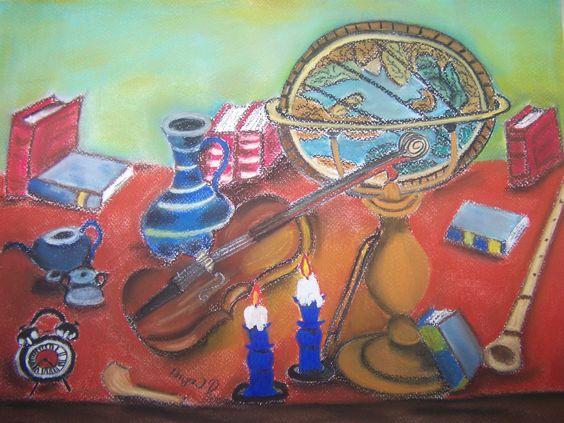 Bildtitel: Das Studium der Musik Technik: Pastellkreide, Deckfarbe Größe:    30 x 40 cm