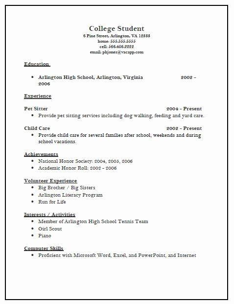Activities Resume Template New High School Activities Resume Template College Resume Template College Resume High School Resume
