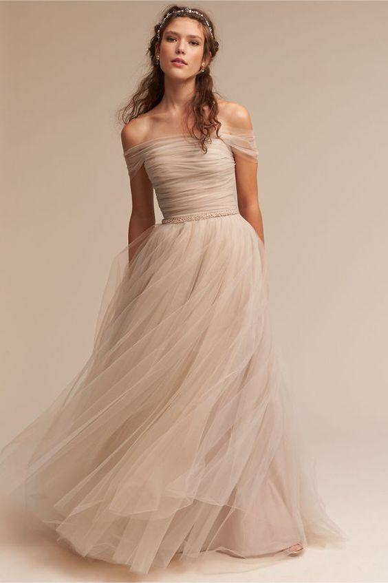 Ramona Gown | formal dress | tulle | floor length | prom | off shoulder | neutral colors | simple | brunette