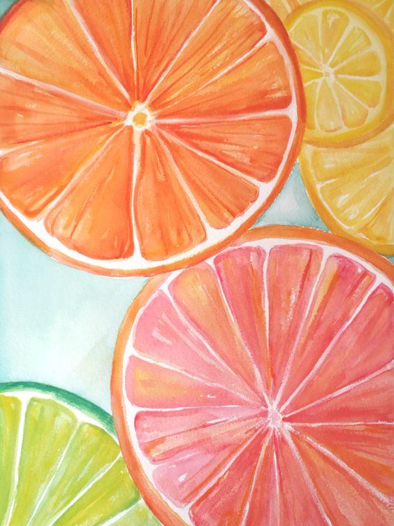 Citrus watercolors paintings original, Ruby Red Grapefruit, Lemon, Orange, Lime slices aqua Watercolor Painting,  Fruit ART, 11 x 15 by SharonFosterArt on Etsy