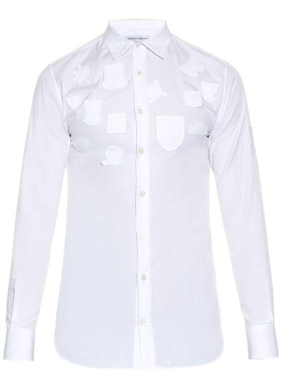 Alexander McQueen - Badge Appliqué Cotton Poplin Shirt #shirts #alexandermcqueen #mcq