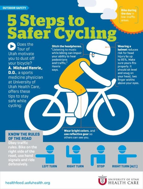 5 steps to cycling safety pictograph. various safety tips