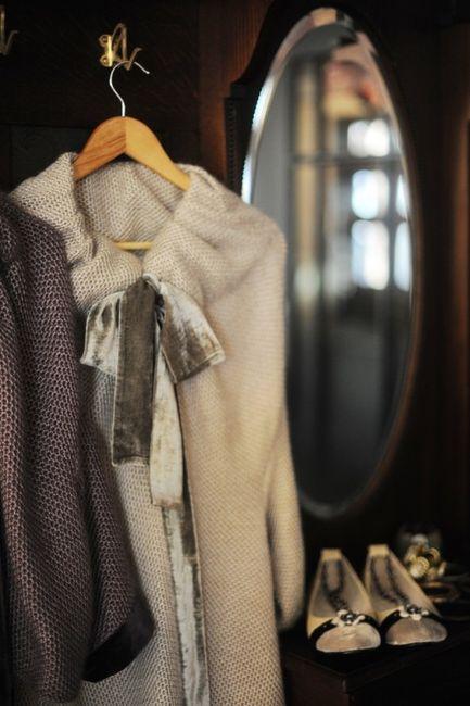 Velvet bow on a sweater dress