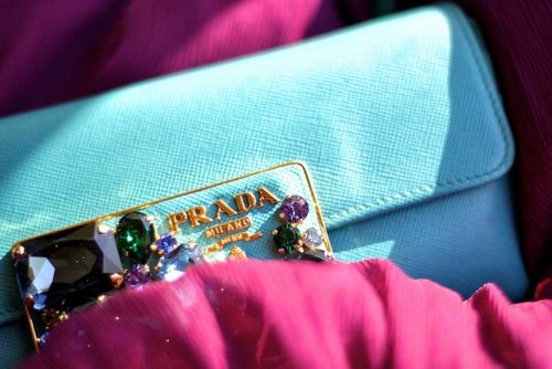 bright #blue #bedazzled #prada clutch