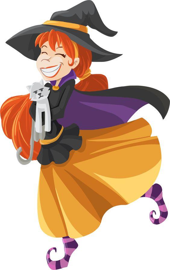 Happy Cartoon Witch Isolated by GDJ