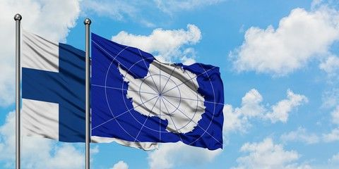 Finland And Antarctica Flag Waving In The Wind Against White Cloudy Blue Sky Together Diplomacy Concept Internatio In 2020 Stock Illustration Antarctica Illustration