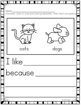 writing assignments for kindergarten