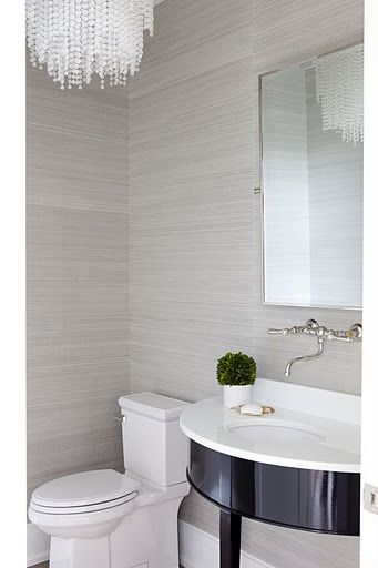 Powder room with platinum gray grasscloth wallpaper for Stone bathroom wallpaper