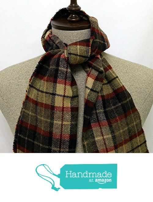 Scarf brown and red plaid wool - SC222 from Nazo Design https://www.amazon.com/dp/B01FON5X5O/ref=hnd_sw_r_pi_dp_I.O5xb3YCBVVK #handmadeatamazon #nazodesign