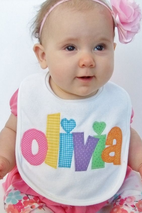 Personalized Bib Appliqued in your choice of colors for baby by Tried and True Designs on Etsy: