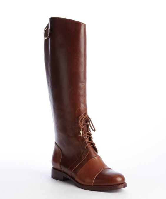 Rachel Zoe : brown buckle detailed leather 'Georgia' classic calf boot : style # 326675902