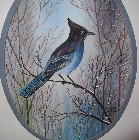 Original Vintage Watercolor Painting Blue Jay by Jeanne A Horak