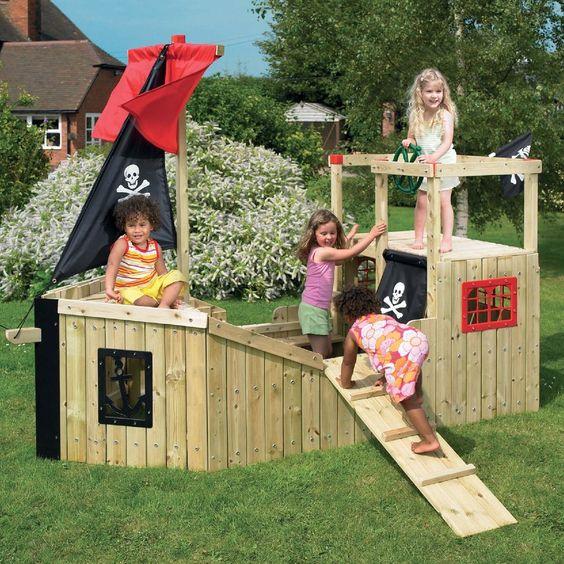 Forest pirate galleon wooden diy playground kit pirate - Pirate ship wooden playground ...