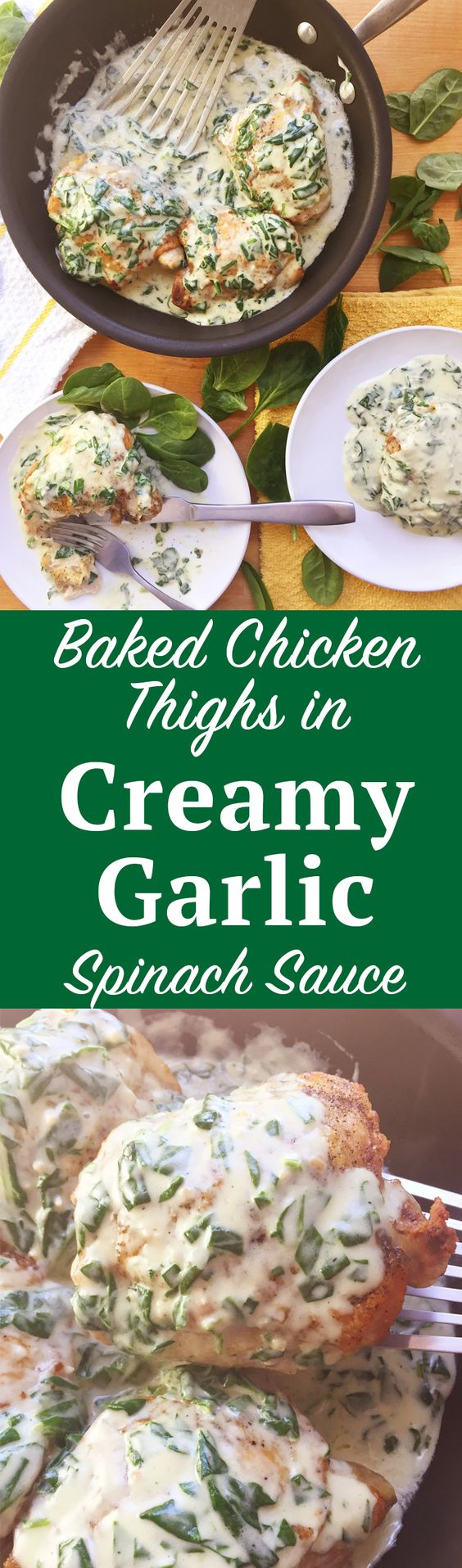 Baked Chicken Thighs with Creamy Garlic Spinach Sauce. A gourmet dinner in under 30 minutes? It's possible with this Baked Chicken Thigh recipe with Creamy Garlic Spinach Sauce. Click through for the instructions!   SeasonlyCreations.com   @Seasonlyblog