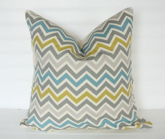 16x16 Gray Blue and CITRINE Chevron Pillow Cover. $14.00, via Etsy.