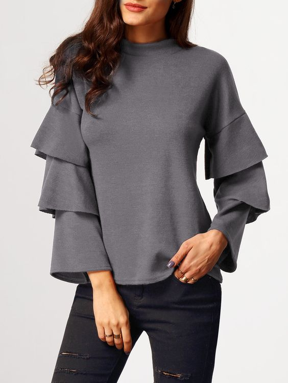 Grey Stand Collar Cascading Ruffle Sleeve Blouse 15.11