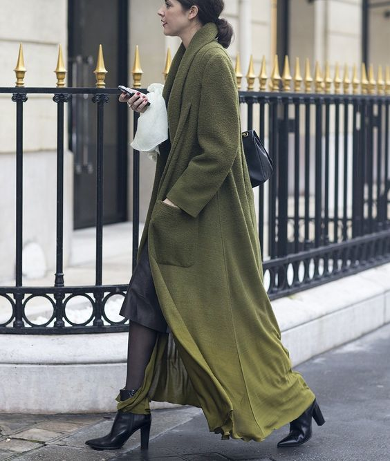 Green coat. Paris Fashion Week, Spring 2015 Couture.