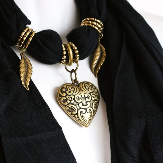 Scarves With Pendants Black Scarves Scarf by RavensNestScarfJewel, $26.00: