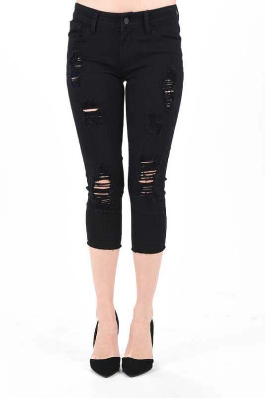 Kancan Jeans Destructed Capri Pants For Women In Black Kc6021bk Jeans Comfortable Denim Jeans Online
