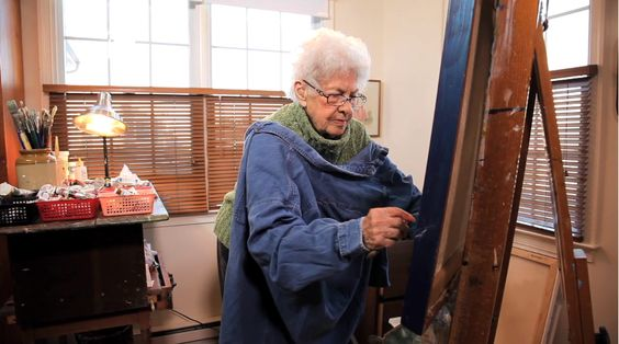 A scene from a film about 96-year old painter Nathalie Engdahl who uses a palette knife to paint the scenes of untouched nature that she so loves.