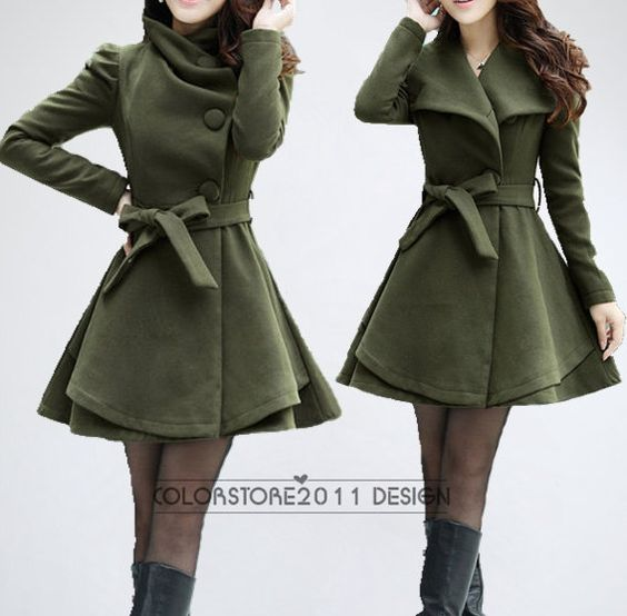 4 colors women's Princess style cape dress Coat jacket with belt ...