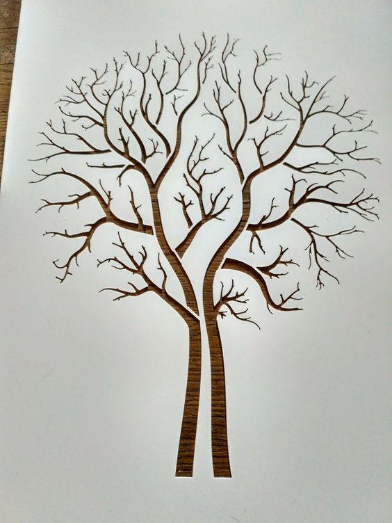 Tree Stencil Painting Art Supply Wall Art Plastic Etsy In 2020 Tree Stencil Tree Branch Decal Thumbprint Tree