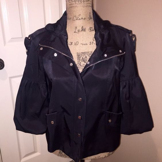 Amazing jacket from CACHÉ Beautiful black jacket from Caché in perfect condition, size S. Zips up and also has snap closure. Can be worn open or closed. Great silver hardware. So fabulous! Cache Tops