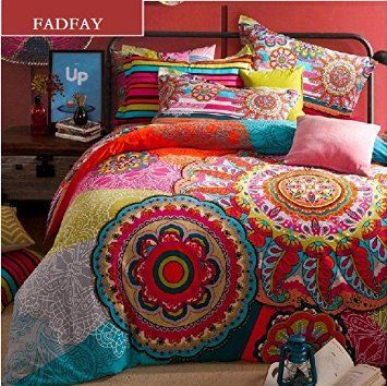 FADFAY, Elegant European Country Style Bedding Set, Fashion Colorful Boho Style Bedding Set, Modern Bohemian Duvet Covers, 4Pcs (King)