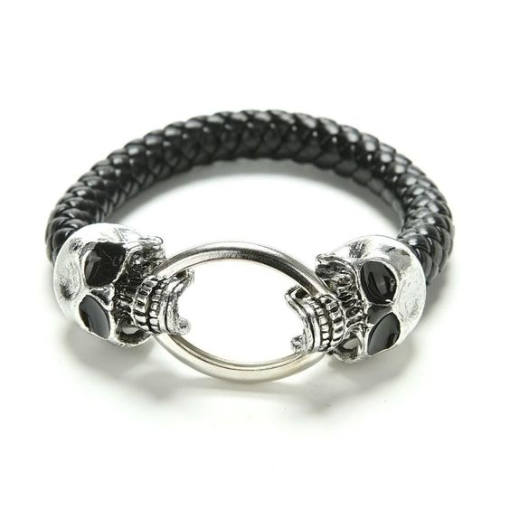 """Skull Head Leather Silver Plated Unisex Mens or Women 8"""" NEW #Unbranded #Statement"""
