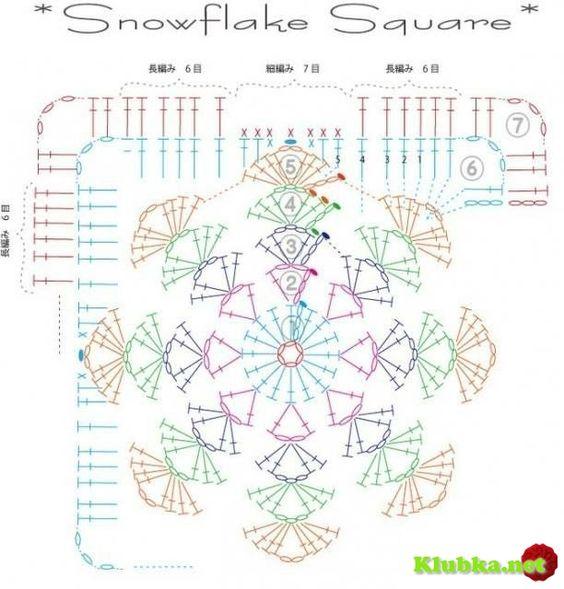 Пледы из квадратов со снежинкой, идеи и схема мотив