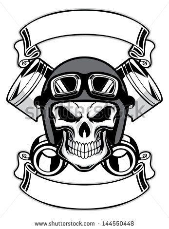 Skull Wearing Motorcycle Helmet Drawing