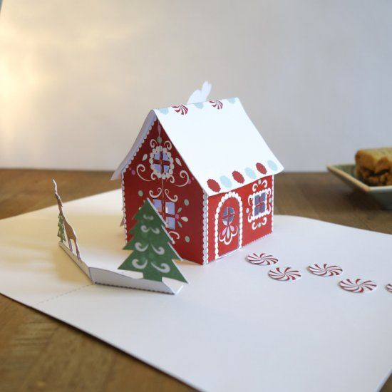 With This Free Printable Template This Pop Up Gingerbread House Is Super Easy To Make Pop Up Christmas Cards Christmas Card Templates Free Boxed Birthday Cards