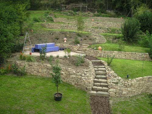 stein treppe und pflanzen im garten - moderne haus geastaltung - ideen gartengestaltung hanglage