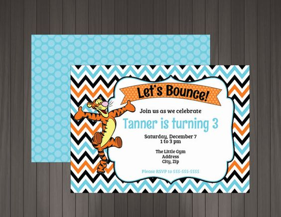 17 best Themes Tigger Party images – Tigger Birthday Party Invitations