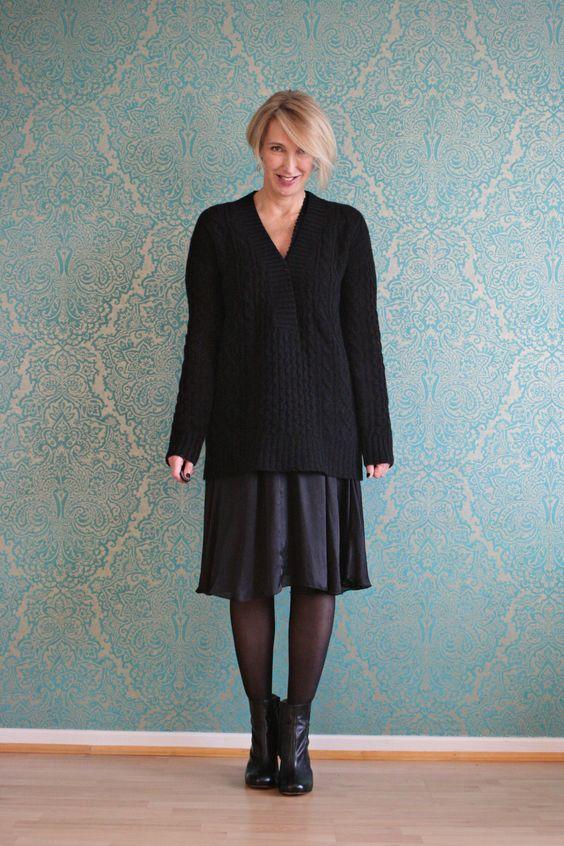 A fashion blog for women over 40 and mature women http://www.glamupyourlifestyle.com/  Sweater + Booties: Dorothee Schumacher Dress: Malene Birger