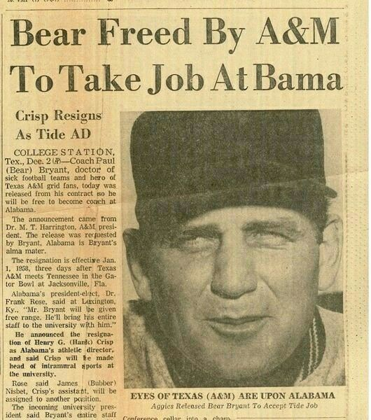Bear Freed By A& M To Take Job At Bama