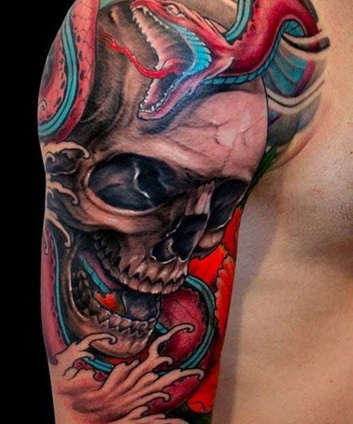 101 Best Skull Tattoos For Men Cool Designs Ideas 2019 Guide In 2020 Skull Sleeve Tattoos Snake Tattoo Design Skull Tattoos