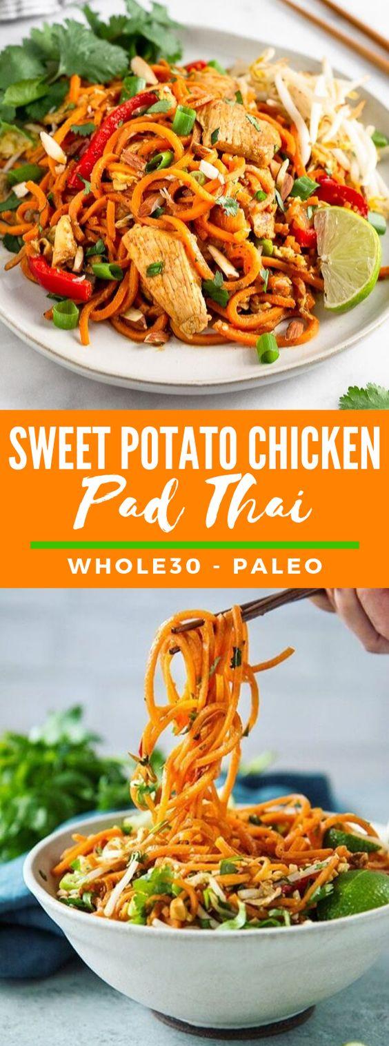 SWEET POTATO CHICKEN PAD THAI (Paleo - Whole30) #healthy #glutenfree