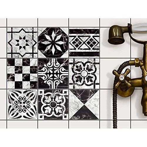 Autocollant Sticker Carrelage Stickers Salle De Bain Revetement Cuisine Stickers Carrelage Carrelage Adhesif Design Dessin Marbre 10x10 Cm 9 Piece