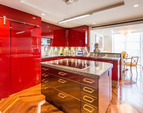 30 Best Red Kitchens Red Kitchen Decor Red Kitchen Wallpaper Wallpapers Uk Blue Found T Kitchen Design Styles Kitchen Design Color Small Kitchen Design Colors