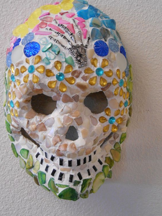 "Pushing up Daisies Day of the Dead Mosaic Sugar Skull Mask Dia de los muertos 9 "" H X 7 "" W For sale on Ebay"