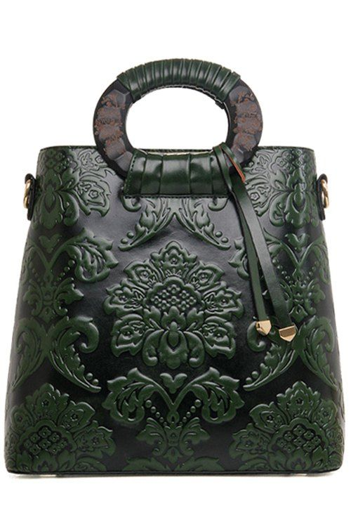 Floral Embossing PU Leather Tote Bag