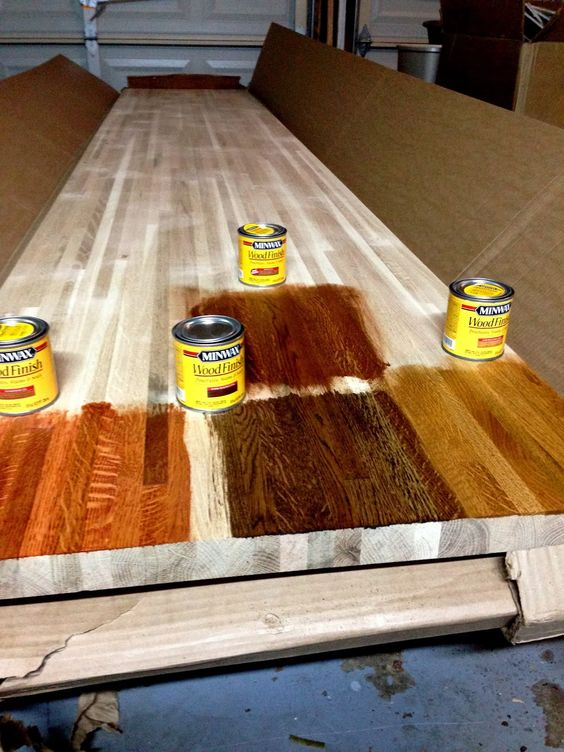 Diy kitchen remodel staining butcher block countertops for the home pinterest stains - Diy redo kitchen countertops ...
